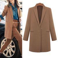 Pure Color Women Cashmere Wool Long Winter Parka Dust Coat Trench Outwear Jacket #66591