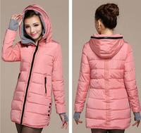 Women cotton-padded jacket 2014 winter long down button zipper plus size coat woman pink slim ladies L-3XL parka