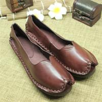 Vintage women's 100% genuine leather flats shoes female handmade flats super comfortable single shoes