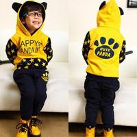 2014 Korean version of spring models boy sweater pants suit  Children's clothing set kids Cartoon Panda free shipping