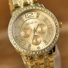 2014 New Style Fahion Gold Color Three Eyes Six Pin Diamond Steel Band Geneva Quartz Relogios Watch(China (Mainland))