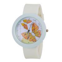 Women Watch Rhinestone Watches Fashion Butterfly Watch Round Analog Watch with Silicone Strap -5
