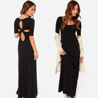 elegant women maxi dress crossed back hollow floor party dress for wholesale and free shipping haoduoyi
