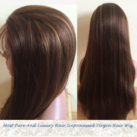Free Shipping #4 Highlight #30 Hair Color 150 Density 6A Top Quality 100% Brazilian Virgin Hair Lace Front Wig
