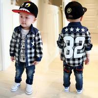 Free shipping 2014 new Korean version of Boys denim stitching plaid long-sleeved shirt cardigan