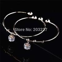 New Fashion jewelry zircon square pendant love cuff bangle for women girl wholesale