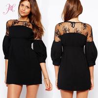 2014 Women Autumn Dress Black Three Quarter Puff Sleeves Lace Panel Detailed Mini Dress