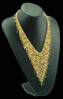 Famous brand golden handmade layered glazed colorful bead necklace,rivet tassel chain collar,ethnic,African statement Necklace