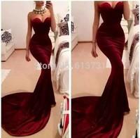 Free Shipping Hot&Sexy Burgundy Velvet Zuhair Murad Mermaid Formal Evening Dress 2014 Long Train Women Special Occasion Dresses