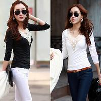 New Fashion Women V-neck Long Sleeve Lace Neck T-shirts Skinny Casual Basic Tee
