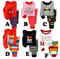 New Arrive Kids Pajama Sets Kids Clothes boys girls sleepwear pyjamas  Spider-Man kitty girls t shirt pants girl's suits