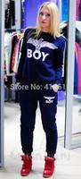 Mini GumNew 2014 women harajuku 2pcs boy Eagles print pullover long sleeve sports suit hoody sweathirt tracksuit sprotwear s m l