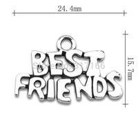 Wholesale Fashion free shipping Anti-Silver originality best friend message charms friendship jewelry