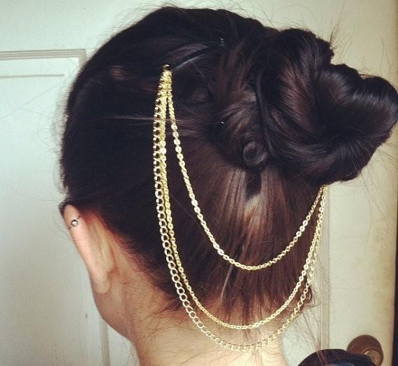 Fashion punk hairstyles cuff needle clamp metal chain headband hair accessories head Jewelry(China (Mainland))
