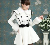 2014 European Style Women's Winter Coat New White Artificial Fur Cashmere Fur Collar Wool Coat Flounced Female