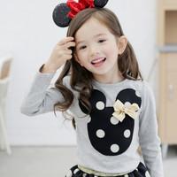 Free shipping 2014 new Korean children's clothing girls princess Polka Dot Mickey sleeved suit