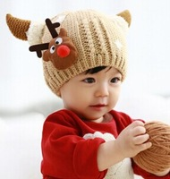 MZ2207  2014 New Winter Christmas Gift Cute  Antlers All for Children Clothing and Accessories  Baby Knitting   Kids Warm Hats