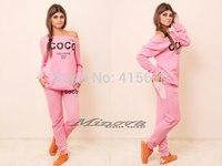 Mini Gum New 2014 women harajuku 2pcs coco letter print pullover long sleeve hoody sweathirt sportwear tracksuit pink s m l