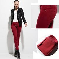 Winter New Women Thicken Legging Fashion Warm Fleeces Inside Denim Pants Velvet Long Trousers With Pockets Plus Size 26-34