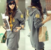 New 2014 Winter Women Fashion Plus Size Letter Hooded sweatshirt dress  Velvet Hoodie Sweatshirt  outwear coat