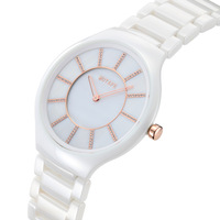 2014 Brand new MOTAFE M036A Ultra-thin waterproof fashion quartz watch women full ceramic steel dress wristwatch