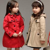 autumn winter 2014 fashion kids hooded trench coat baby girls british style outerwear coat new children hoody jacket