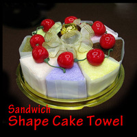 Fashionable Durable Household Sandwich Shape Cake Ornament Towel Present Children Birthday gifts P4PM