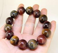 16mm Rainbow Tiger's Eye Stone Bracelet Brangle Beads Stretch Bracelet