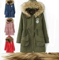 Women 2014 Winter Parkas Long casual design Women Thickening Fur jacket Cotton Hooded Coat Slim Down Parka