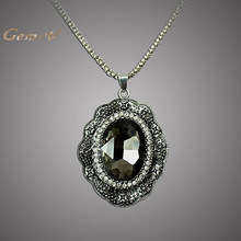 Necklace Pendant Zinc Alloy peacock Ancient Silver Plated Glass Vintage Jewelry Fashion Necklaces Christmas gifts For Women 201
