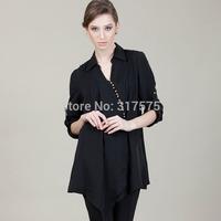 Free shipping British wind shirt Women's clothing Half sleeve shirts big yards OL style, contracted fashion ladies shirts black