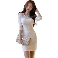 2014 Hot New Autumn Slim Lace Spliced Wedding Dress Elegant Lady Korean Plus Size Mini Vestido De Renda 619