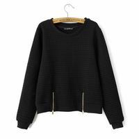 Brand Design 2014 Fashion Womens Solid Color Side Zipper Deco  Sweatshirt Sweatshirts Jumper Hoodie