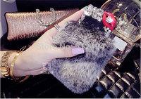 For iphone6 plus case rex rabbit fur case for iphone 6 plus phone case for iphone 6 protective case for apple 6