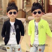 Free shipping 2014 new Korean children's clothing boys cardigan jacket hollow pattern