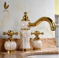 Elegant beautifull Marble and Ceramic Finished Basin Sink Faucet Deck Mounted 3PCS Dual Handle Bathroom Basin Faucet