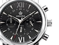 ORKINA Ran Second Chronograph Watch Men Leather Casual Business Men Watch Black Face