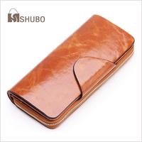 SHUBO Vintage Oil Wax Cowhide Women Wallet Genuine Leather Long Zipper 2014 Womens Wallets Credit Card Holder Clutch Purse SW015