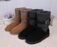 2014 brand Classic Button genuine leather Knit Plush  wool Boot Women's Winter Snow Boots With Box Free Shipping size 35-40 K2-3