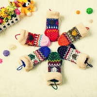 2014 Christmas tree warm winter gloves warm with a double rope gloves female gloves