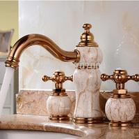 Elegant beautifull Marble and Ceramic Finished 3PCS Deck Mounted Bathroom Bathtub Faucet Dual Handles Basin Mixer Taps