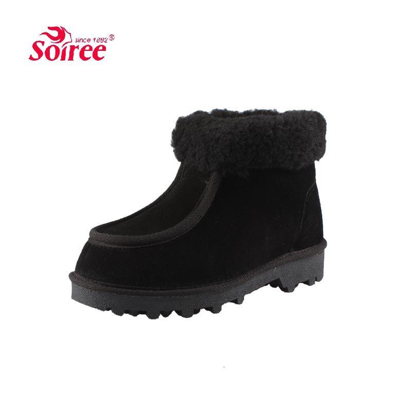 Soiree inverno couro genuíno dos homens novos de lã botas de neve espessa crosta em idosos confortável interior e ao ar livre sapatos quentes(China (Mainland))