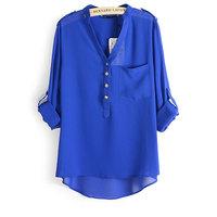 Autumn 2014 V-Neck Block Color Pocket Decoration loose Chiffon Shirts ,  Asymmetry blouse women Free Shipping