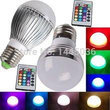How Sale IR Controller RGB 16 Color Change LED Magic Light Bulb Lamp E26 E27 3W 5W 10W+Free Shipping(China (Mainland))