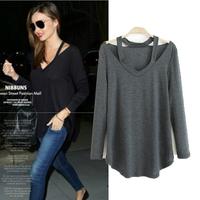Summer autumn new arrival 2014 fashion star fashion comfortable casual long-sleeve halter-neck T-shirt female top LJ060LMX