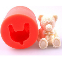 1pc/lot Silicone 3D Lovely Little Bear Model Fondant Cake Molds Soap Chocolate Mould Cylindrical Kitchen Baking Tool FK870747