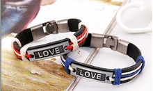 Hot Sale Genuine Leather Couple Fashion Love Bracelet with Charms Wholesale Romantic Boyfriend Girlfriend s Birthday