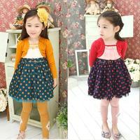 2014 fall fashion polka dot long sleeve girl dress european style faux two piece children baby kids children skater dress