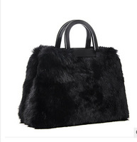 100% genuine leather & rabbit hair patchwork designer handbags ,fashion winter luxury bags 8270
