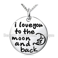2014 Fashion I Love You To The Moon and Back Silver Sun and Moon Pendant Necklace Women Girls Gift Necklace Jewelry 12Pcs/Lot